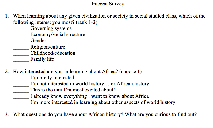 Interest Survey - Alternative Historical Narratives and ...